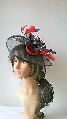 Navy with poppy red trim & feathers fascinator,Teardrop style.wedding,races..new