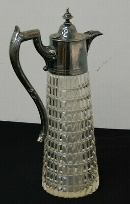 Large Moulded Glass Wine Jug With Silver Plate Collar And Handle