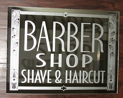 Barber Shop Shave & Haircut Art Deco Glass Mirror Advertising Sign