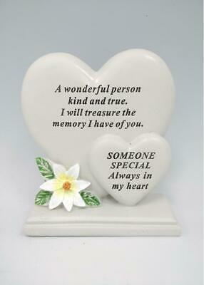 Someone Special Double Heart Memorial Flower Graveside Remembrance Plaque Grave
