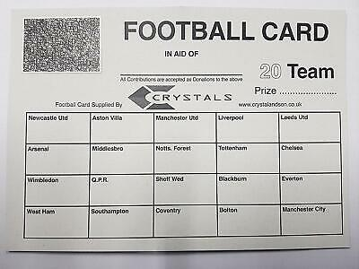 Football Scratch Cards 20 Team - Fundraising - Pack Of 25 Cards - Football Teams