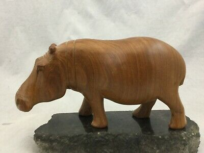 Vintage Hand Carved Wood Hippo Sculpture Figure African Animals Kenya Folk Art