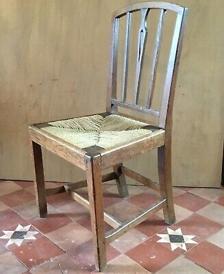 Antique Oak Chair with Drop In Rush Seat. Primitive. Country Kitchen. E19thC?