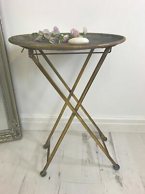 Folding Round Gold Side Table - Small Moroccan Golden Metal Lamp Tables