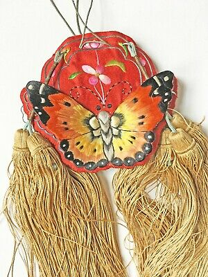 Antique Chinese Embroidered Silk Scent Pouch Purse Bag Red with 3-D Butterflies