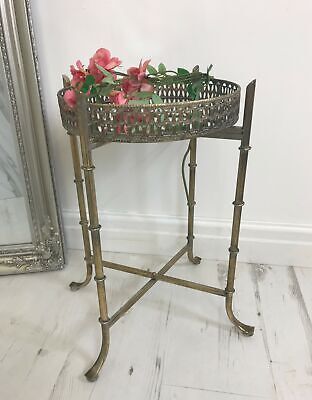 Small Antique Gold Mirrored Tray Table - Round Side Table - Mirror Tea Trays