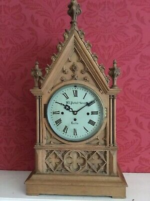 Victorian Large Bleached Oak Fusee Gothic Bracket Clock Modified Potts Leeds