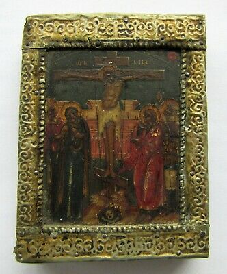 Antique painted Russian miniature Icon