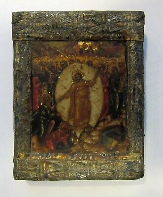 Antique painted Russian miniature Icon on wooden panel