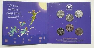 2019 PETER PAN 50p 6 COIN COMPLETE SET 90th ANNIVERSARY PACKAGING IOM/05