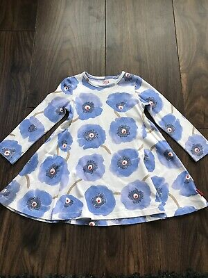 Baby Girls Oililly Dress White With Blue Flowers Age 2