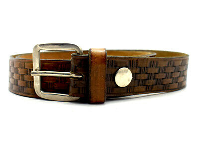 Vintage Hand Made Mens Womens Leather Belt Brown Size 36