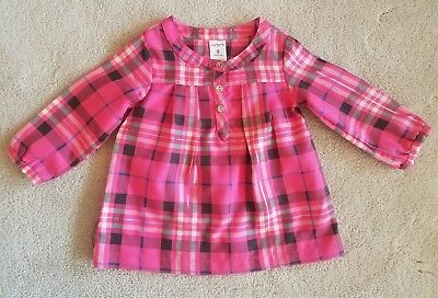 Infant Girls CARTER'S Hot Pink Long Sleeve Plaid Shirt Size 9 Months