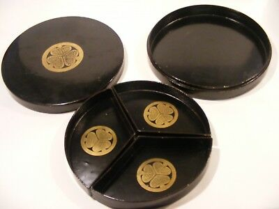 Antique Japanese Lacquer  Tokugawa Lazy Susan Eating Dishes