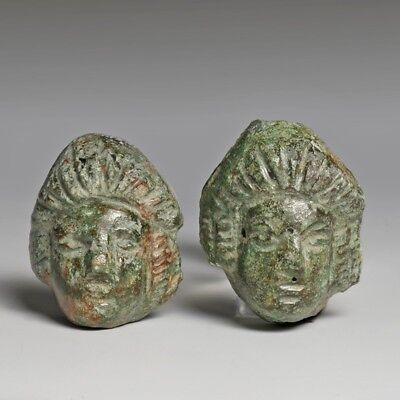 Pair Of Roman Bronze Head of a Lady Appliques