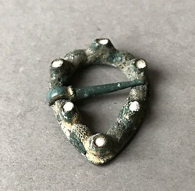 British Found Medieval Heart Shaped Gilt Bronze Enamelled Brooch C.15th Century