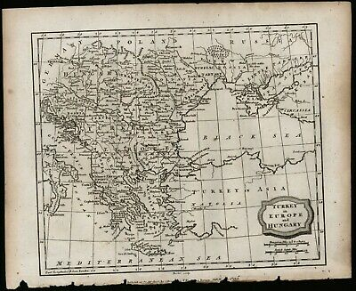 Turkey in Europe and Hungary circa 1807 black and white engraving antique map