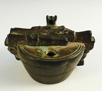UNUSUAL 17th Century Bronze Barrel Shaped Locked Weight Container With Flintlock