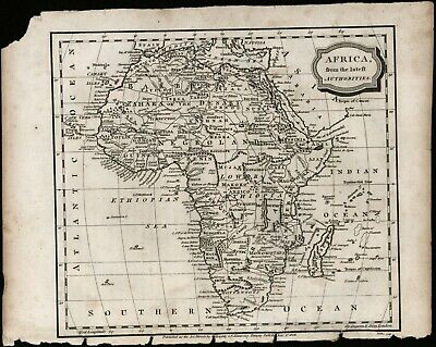 Africa circa 1807 black and white engraving antique map