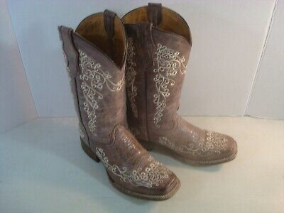 Corral Children/'s Bone Embroidered Cowhide Square Toe Boot A2980