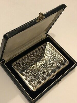 Antique Large Oriental Eastern Siam Thailand Sterling Silver Case