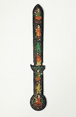Antique Middle Eastern Islamic Black Lacquer Ottoman Paper Knife Persian Arabic