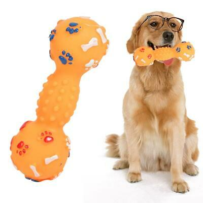 Colorful Dotted Dumbbell Shaped Squeeze Squeaky Faux Bone Pet Dog Toys AU