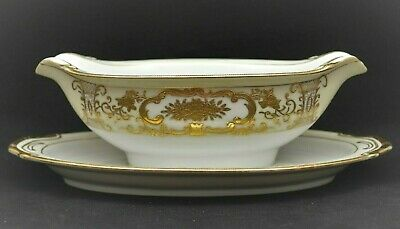 Vintage Adline China Majestic Occupied Japan Gravy Boat Hand Painted Gold