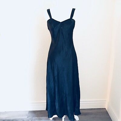 90s Cacique Long Gown Nightgown Dress Sz S Satin Negligee Vtg Black