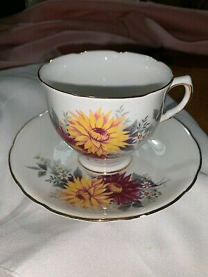 Royal Stafford Dahlia Cup Gold Trim Tea Cup And Saucer Vintage