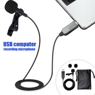 USB Clip On Omnidirectional Shirt Clip Mic with Tie Collar Mini Microphone