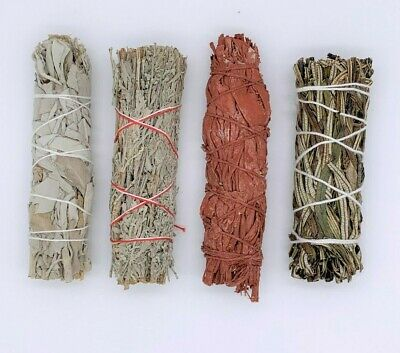 4X:Sage Smudge Stick Bundle Sampler Kit: White, Blue, Dragons Blood, Yerba Santa