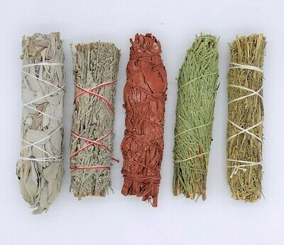5X : Sage Smudge Stick Sampler Kit: White, Blue, Dragons Blood, Cedar, Desert