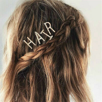 1pc Crystal Letter Rhinestone Hair Clip Words Barrette Hairpin Bobby Pin Jewelry