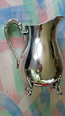 F B ROGERS PLAIN Pitcher SCROLL HANDLE & FEET LARGE WATER  SILVER PLATE