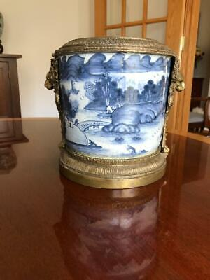 Blue and White Canton Chinese Cachepot/Vase with Bronze Trim