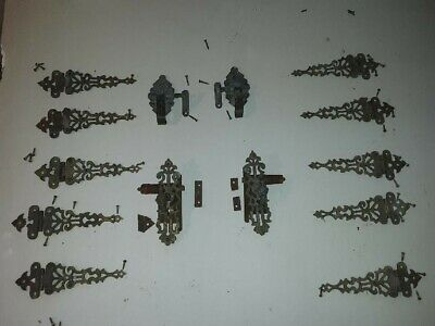 Vintage FC company Ornate Brass Hinges & hardware Cabinet Ice Box Chest nice!