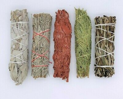 5X:Sage Smudge Stick Sampler Kit: White, Blue, Dragons Blood, Cedar, Yerba Santa