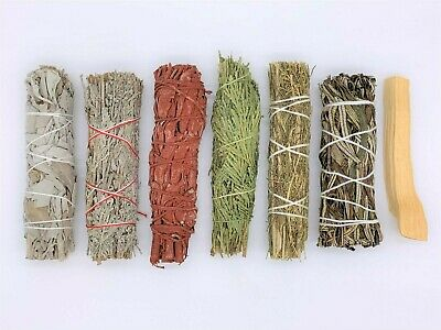 7X Sage Bundle Smudge Stick Kit: White, Blue, Dragons Blood, Cedar, Desert, Palo