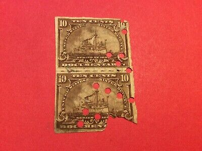 """""""Used"""" U.S. 10 cents block of 2 Documentary stamps with large """"Perfin"""""""