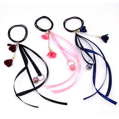 1PC Hair Rope Ring Tie Band with Long Ribbon Cloth Flower Ponytail Holder Women