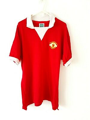 Manchester United Retro Home Shirt. Large. Score Draw. Red Adults Man Utd Top L.