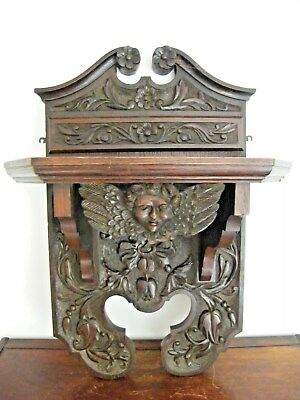 """Very Large Reclaimed Carved Wooden Gothic Wall Bracket Corbel Shelf 30"""" Tall"""