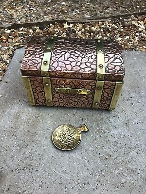 Antique Copper & Brass Tea Caddy Chest With Spoon