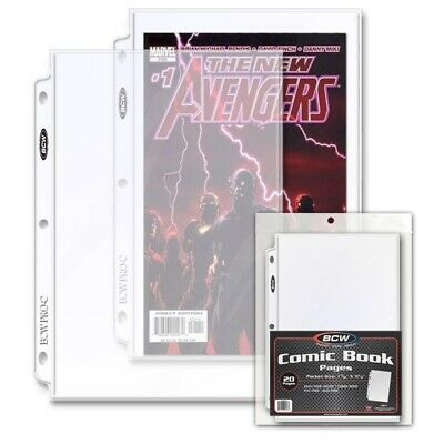 20 BCW Current / Silver Comic Pages Archival Quality For 3 Rings Binder Album