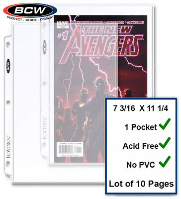 10 BCW Current / Silver Comic Pages Archival Quality For 3 Rings Binders Albums