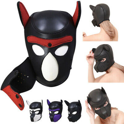 Sexy Adult Cosplay Role Play Dog Full Head Mask Soft Padded Latex Rubber Puppy