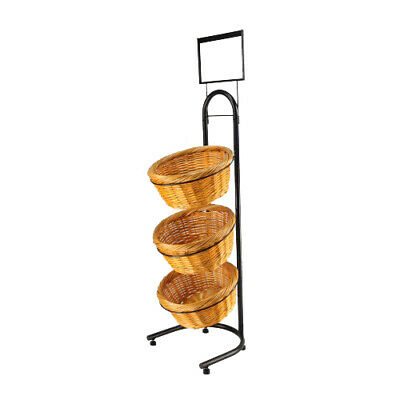 Wicker Basket Metal Rack Produce Floor Stand Bulk Food Display Sign Holder