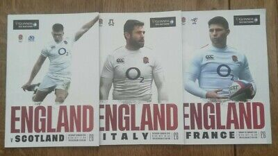 3x England Home Six Nations Match Programmes, 2019.