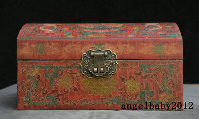 """6"""" Old China lacquerware Wood Two Dragon play Bead storage Jewelry box Casket"""